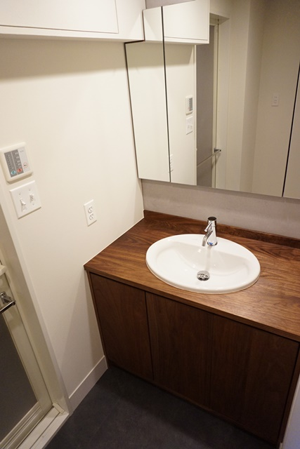 ファイル 洗面台 木製カウンター