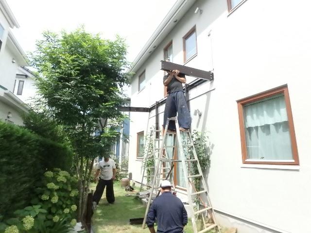 ウッドバルコニー ウッドデッキ リフォーム 横浜 鉄骨バルコニー